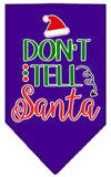 Doggy Stylz Dog-products New Purple / Small Don't Tell Santa Screen Print Bandana