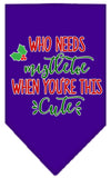 Doggy Stylz Dog-products New Purple / Small Who Needs Mistletoe Screen Print Bandana