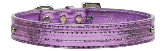 "Doggy Stylz Dog-products Pet Charms Purple / Small 3/8"" (10mm) Metallic Two Tier Collar"