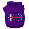 Doggy Stylz Dog-products Pet Apparel Purple / XXXL Bone Shaped Iceland Flag Screen Print Pet Hoodies