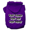 Doggy Stylz Dog-products Pet Apparel Purple / XXXL You Come, You Sit, You Stay Screen Print Pet Hoodies Size