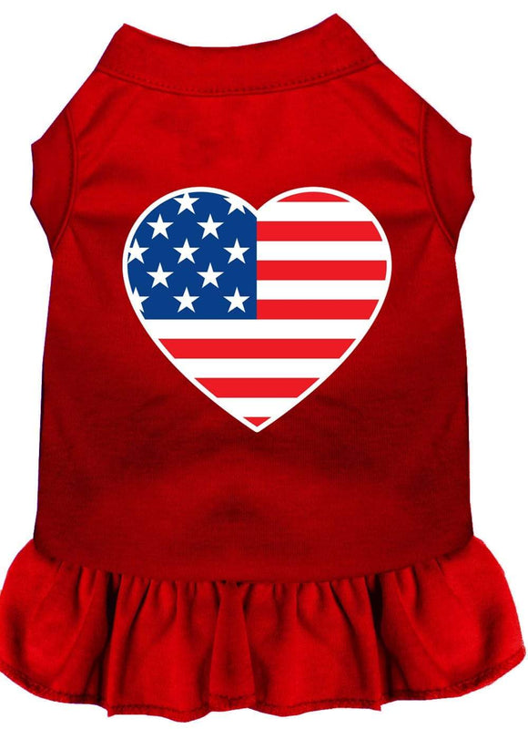 Doggy Stylz Dog-products Apparel Red With White / EXTRA SMALL American Flag Heart Screen Print Dress Red