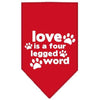 Doggy Stylz Dog-products New Pet Products Red / Small Love Is A Four Leg Word Screen Print Bandana