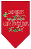 Doggy Stylz Dog-products New Red / Small Who Needs Mistletoe Screen Print Bandana