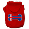 Doggy Stylz Dog-products Pet Apparel Red / XXXL Bone Shaped Iceland Flag Screen Print Pet Hoodies