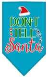 Doggy Stylz Dog-products New Turquoise / Small Don't Tell Santa Screen Print Bandana