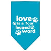 Doggy Stylz Dog-products New Pet Products Turquoise / Small Love Is A Four Leg Word Screen Print Bandana