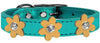 Doggy Stylz Dog-products New! Turquoise With Gold Flowers / 26 Metallic Flower Leather Collar Metallic Turquoise With Metallic Flowers Size