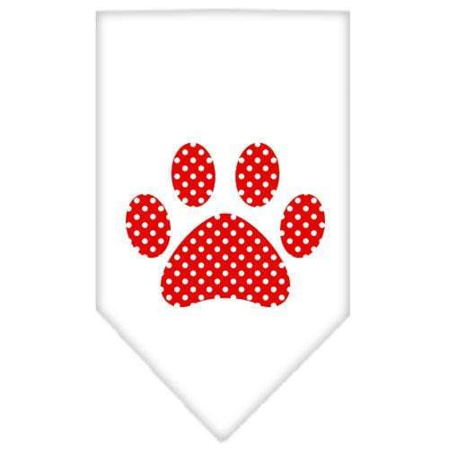 Doggy Stylz Dog-products Dog Bandanas White / Large Red Swiss Dot Paw Screen Print Bandana