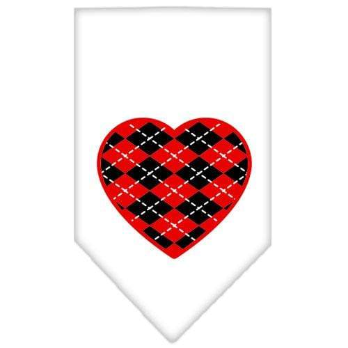 Doggy Stylz Dog-products Dog Bandanas White / Small Argyle Heart Red Screen Print Bandana