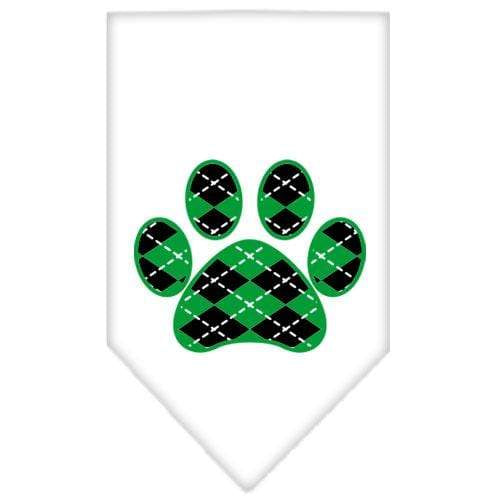 Doggy Stylz Dog-products Dog Bandanas White / Small Argyle Paw Green Screen Print Bandana