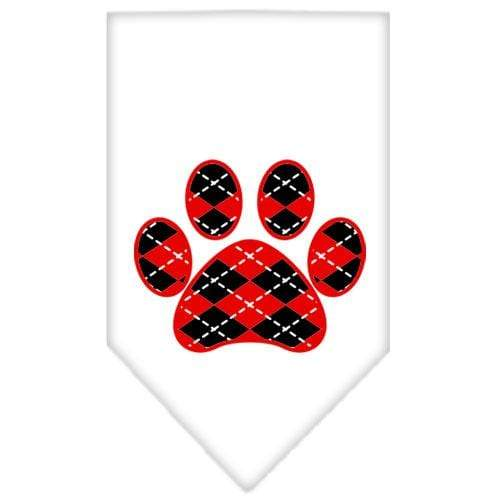 Doggy Stylz Dog-products Dog Bandanas Cocoa / Small Argyle Paw Red Screen Print Bandana