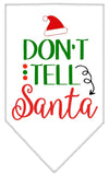 Doggy Stylz Dog-products New White / Small Don't Tell Santa Screen Print Bandana
