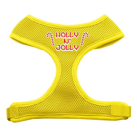 Doggy Stylz Dog-products Pet Harnesses Yellow / Large Holly N Jolly Screen Print Soft Mesh Harness