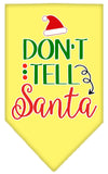Doggy Stylz Dog-products New Yellow / Small Don't Tell Santa Screen Print Bandana