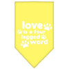 Doggy Stylz Dog-products New Pet Products Yellow / Small Love Is A Four Leg Word Screen Print Bandana