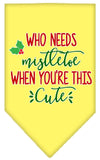 Doggy Stylz Dog-products New Yellow / Small Who Needs Mistletoe Screen Print Bandana