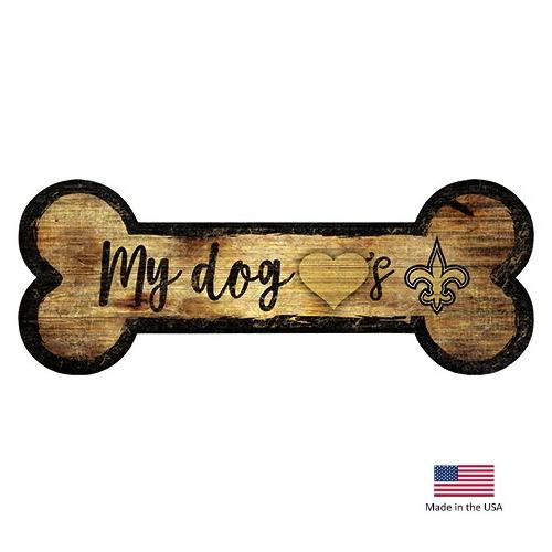 New Orleans Saints Distressed Dog Bone Wooden Sign