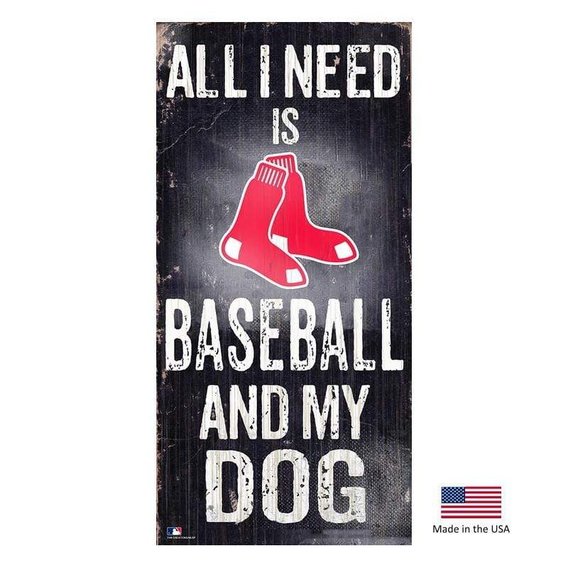 Fan Creations Dog-products MLB Boston Red Sox Distressed Baseball And My Dog Sign