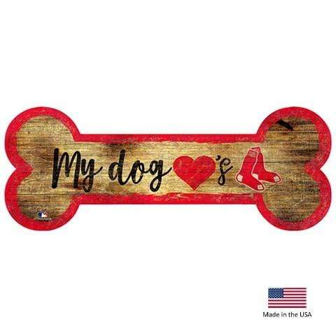 Fan Creations Dog-products MLB Boston Red Sox Distressed Dog Bone Wooden Sign