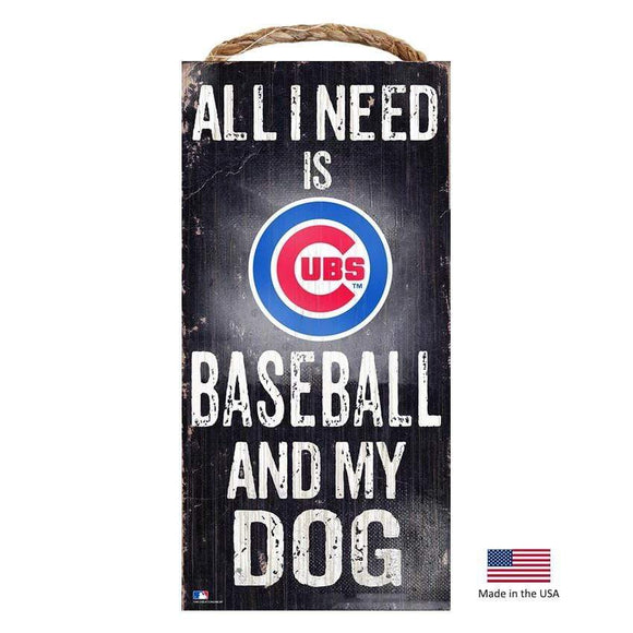 Fan Creations Dog-products MLB Chicago Cubs Distressed Baseball And My Dog Sign