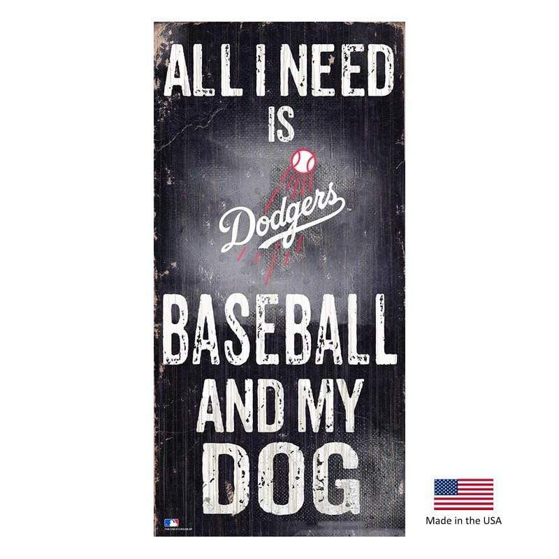 Fan Creations Dog-products MLB Los Angeles Dodgers Distressed Baseball And My Dog Sign