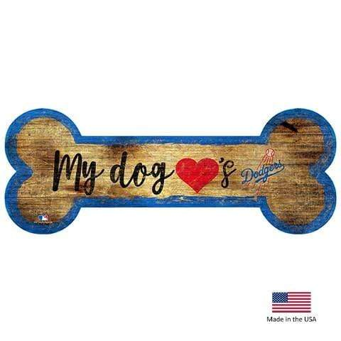 Fan Creations Dog-products MLB Los Angeles Dodgers Distressed Dog Bone Wooden Sign