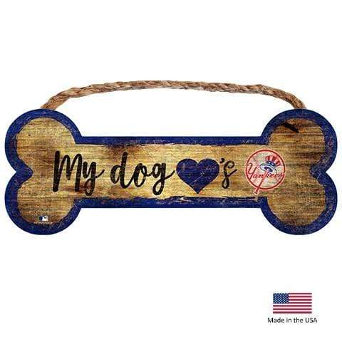Fan Creations Dog-products MLB New York Yankees Distressed Dog Bone Wooden Sign