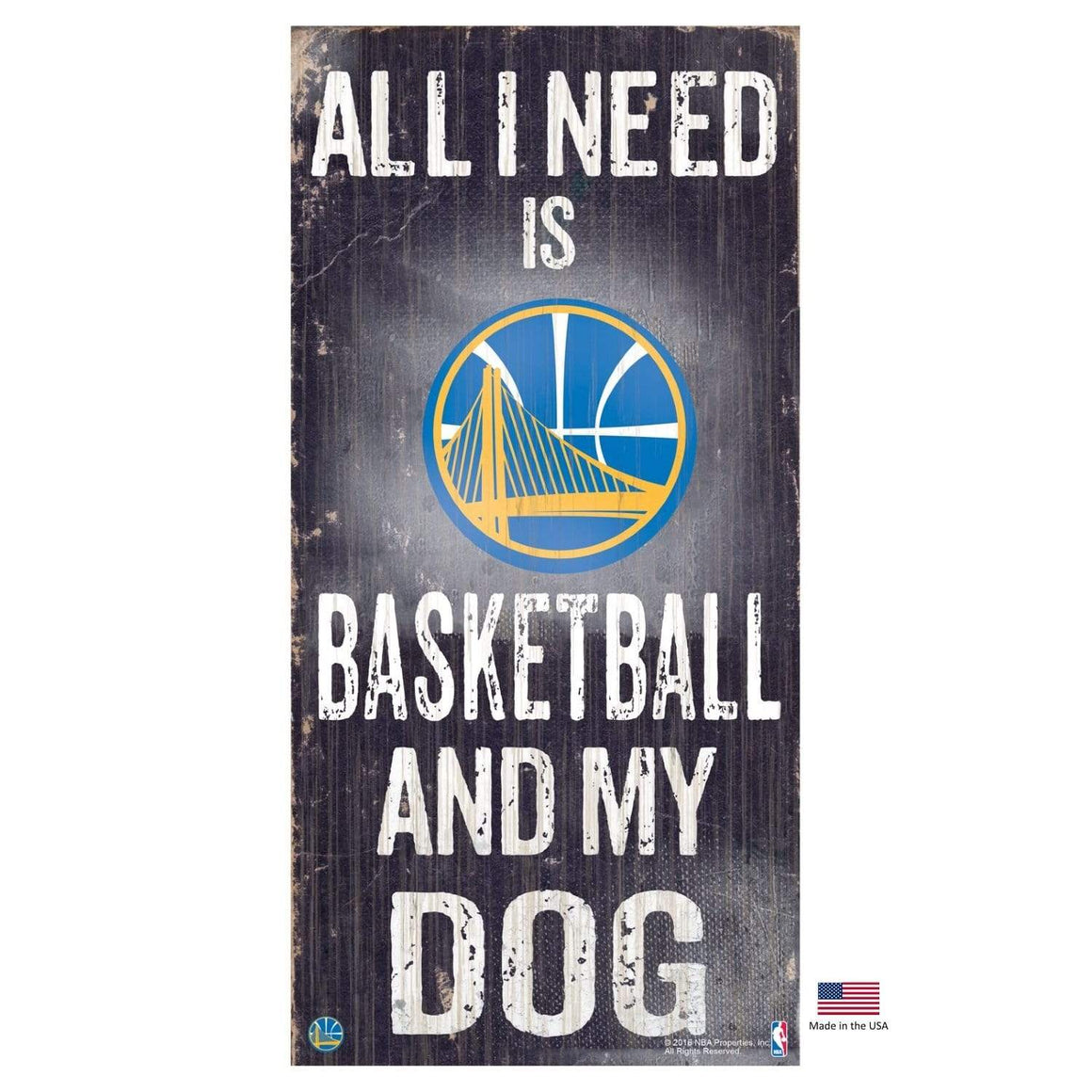 Fan Creations Dog-products NBA Golden State Warriors Distressed Basketball And My Dog Sign