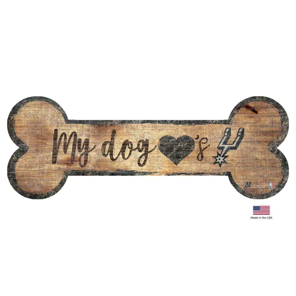 Fan Creations Dog-products NBA San Antonio Spurs Distressed Dog Bone Wooden Sign