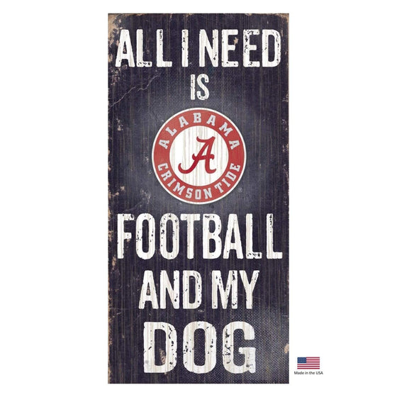 Fan Creations Dog-products NCAA Alabama Crimson Tide Distressed Football And My Dog Sign
