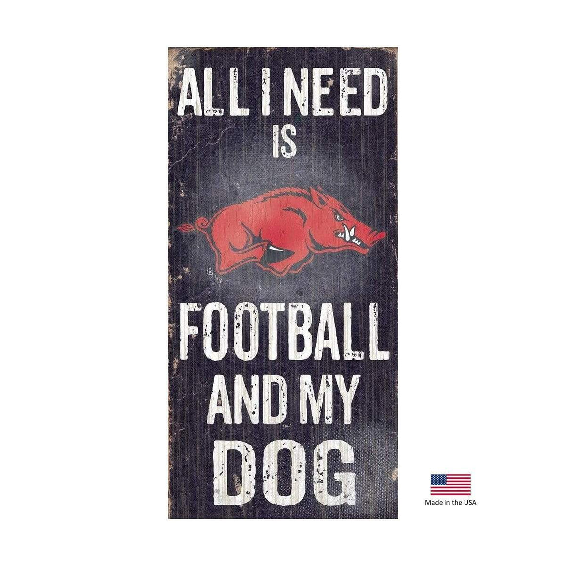 Fan Creations Dog-products NCAA Arkansas Razorbacks Distressed Football And My Dog Sign