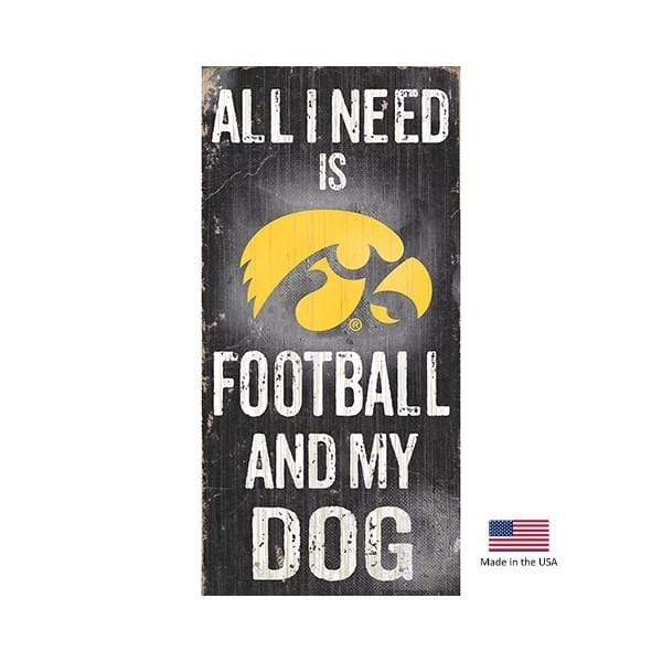 Fan Creations Dog-products NCAA Iowa Hawkeyes Distressed Football And My Dog Sign