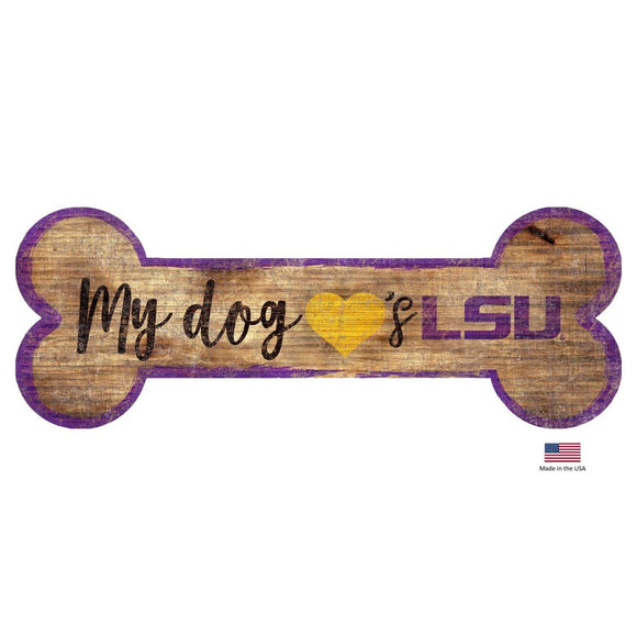 Fan Creations Dog-products NCAA Lsu Tigers Distressed Dog Bone Wooden Sign