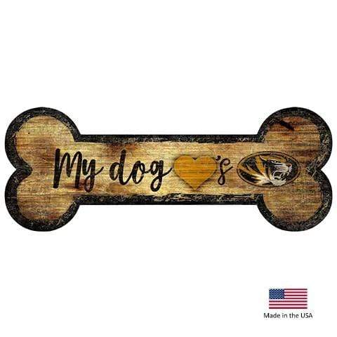Fan Creations Dog-products NCAA Missouri Tigers Distressed Dog Bone Wooden Sign