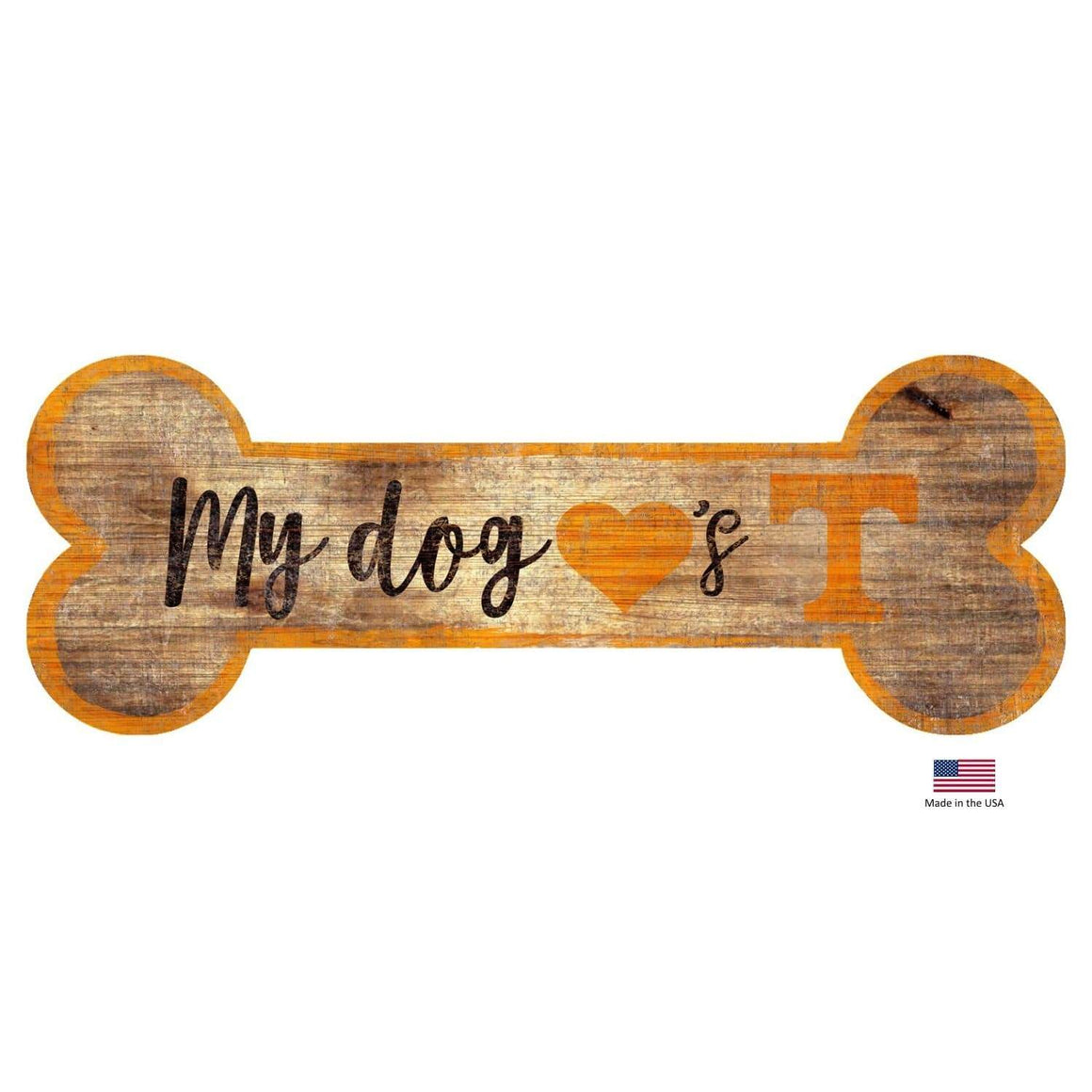 Fan Creations Dog-products NCAA Tennessee Volunteers Distressed Dog Bone Wooden Sign