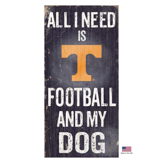 Fan Creations Dog-products NCAA Tennessee Volunteers Distressed Football And My Dog Sign