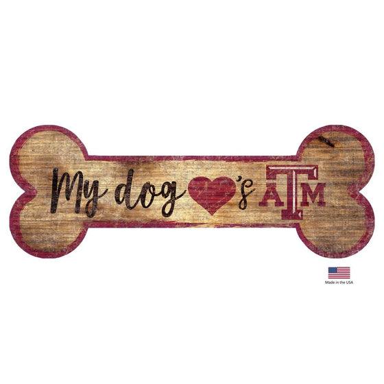 Fan Creations Dog-products NCAA Texas A&m Aggies Distressed Dog Bone Wooden Sign