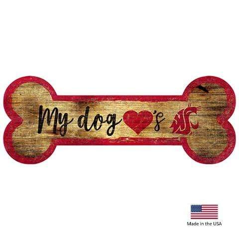Fan Creations Dog-products NCAA Washington State Cougars Distressed Dog Bone Wooden Sign