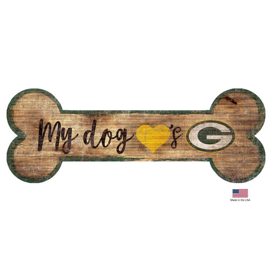 Fan Creations Dog-products NFL Green Bay Packers Distressed Dog Bone Wooden Sign