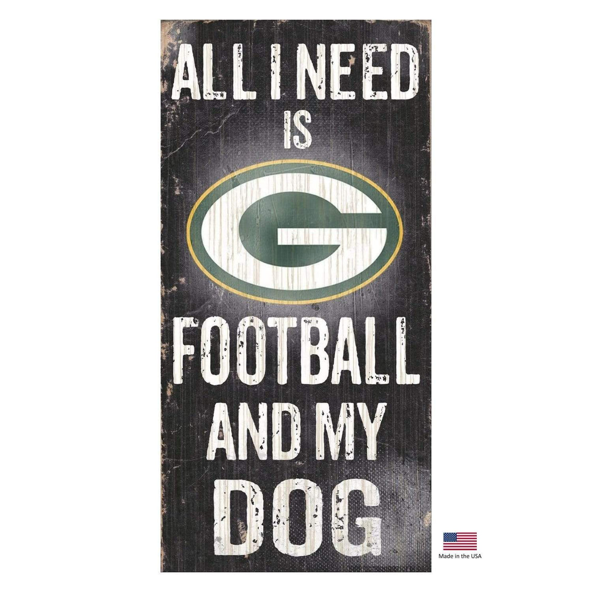 Fan Creations Dog-products NFL Green Bay Packers Distressed Football And My Dog Sign
