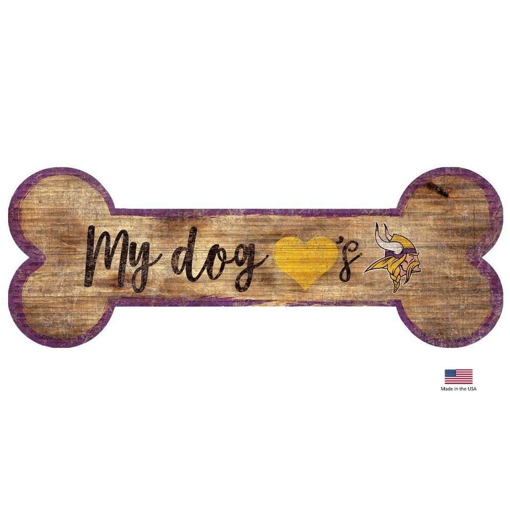 Fan Creations Dog-products NFL Minnesota Vikings Distressed Dog Bone Wooden Sign