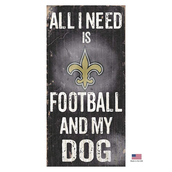 Fan Creations Dog-products NFL New Orleans Saints Distressed Football And My Dog Sign