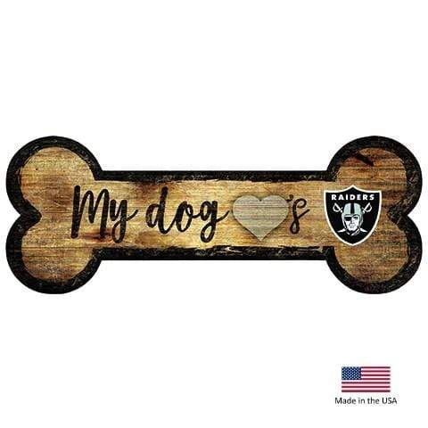 Fan Creations Dog-products NFL Oakland Raiders Distressed Dog Bone Wooden Sign