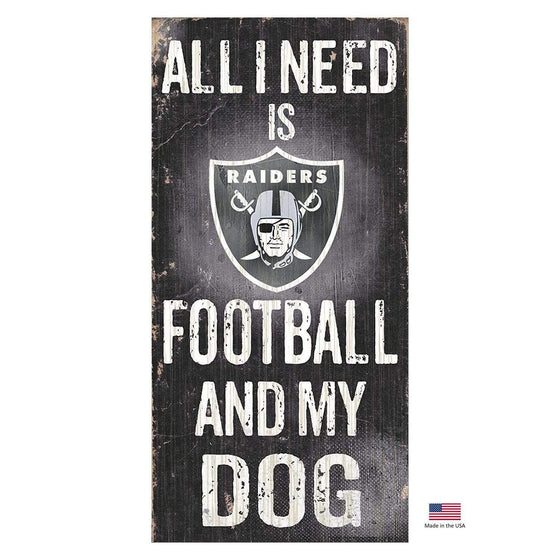 Fan Creations Dog-products NFL Oakland Raiders Distressed Football And My Dog Sign