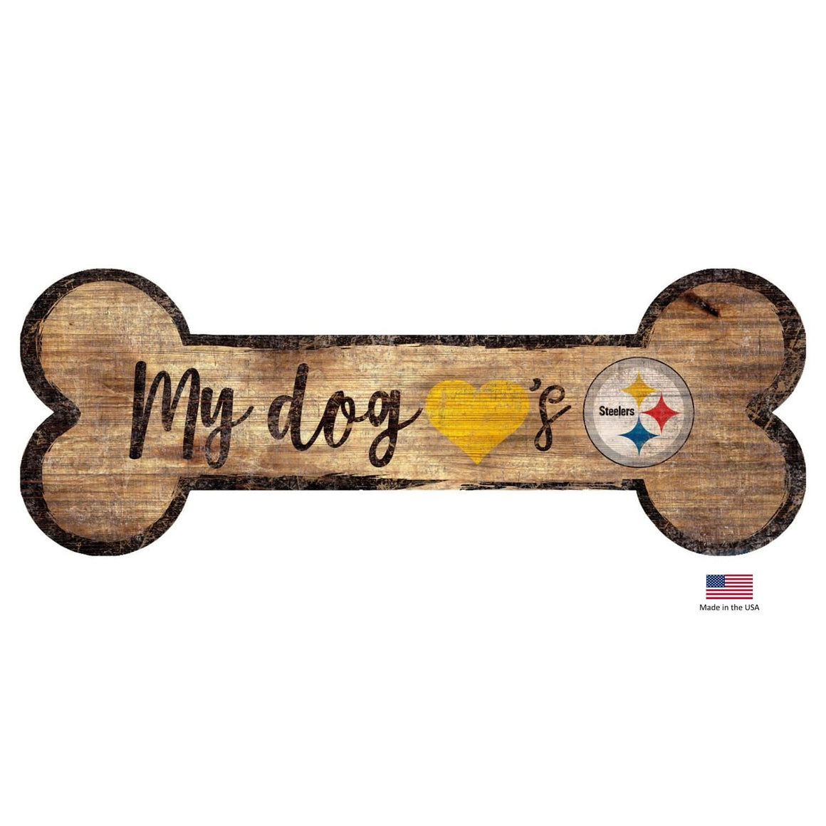 Fan Creations Dog-products NFL Pittsburgh Steelers Distressed Dog Bone Wooden Sign