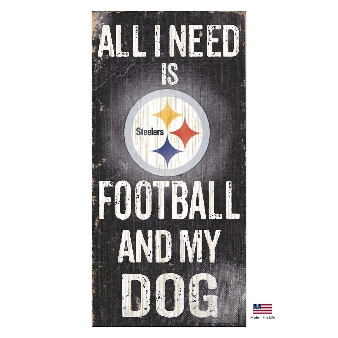 Fan Creations Dog-products NFL Pittsburgh Steelers Distressed Football And My Dog Sign