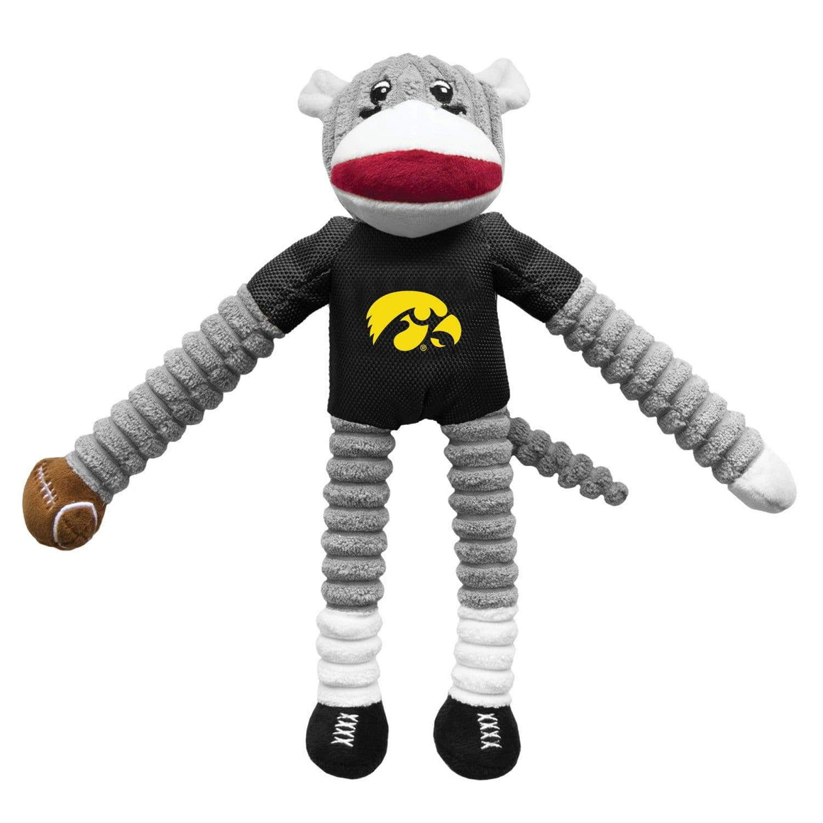 Little Earth Productions Dog-products NCAA Iowa Hawkeyes Sock Monkey Pet Toy