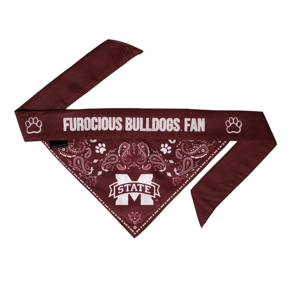 Little Earth Productions Dog-products NCAA Small Mississippi State Bulldogs Reversible Paisley Bandana