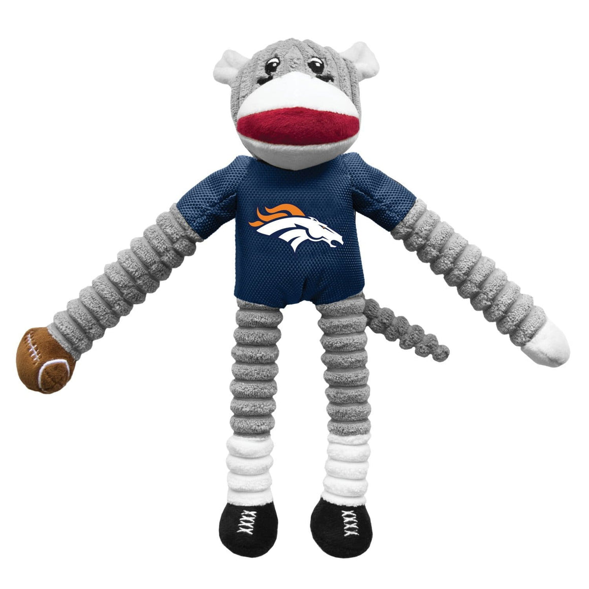 Little Earth Productions Dog-products NFL Denver Broncos Sock Monkey Pet Toy